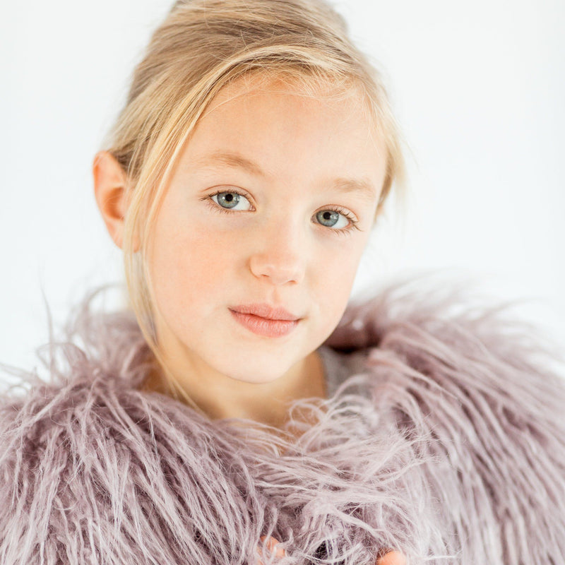 FAUX FUR SHAGGY JACKET LILAC | NOW IN SIZE 10/11