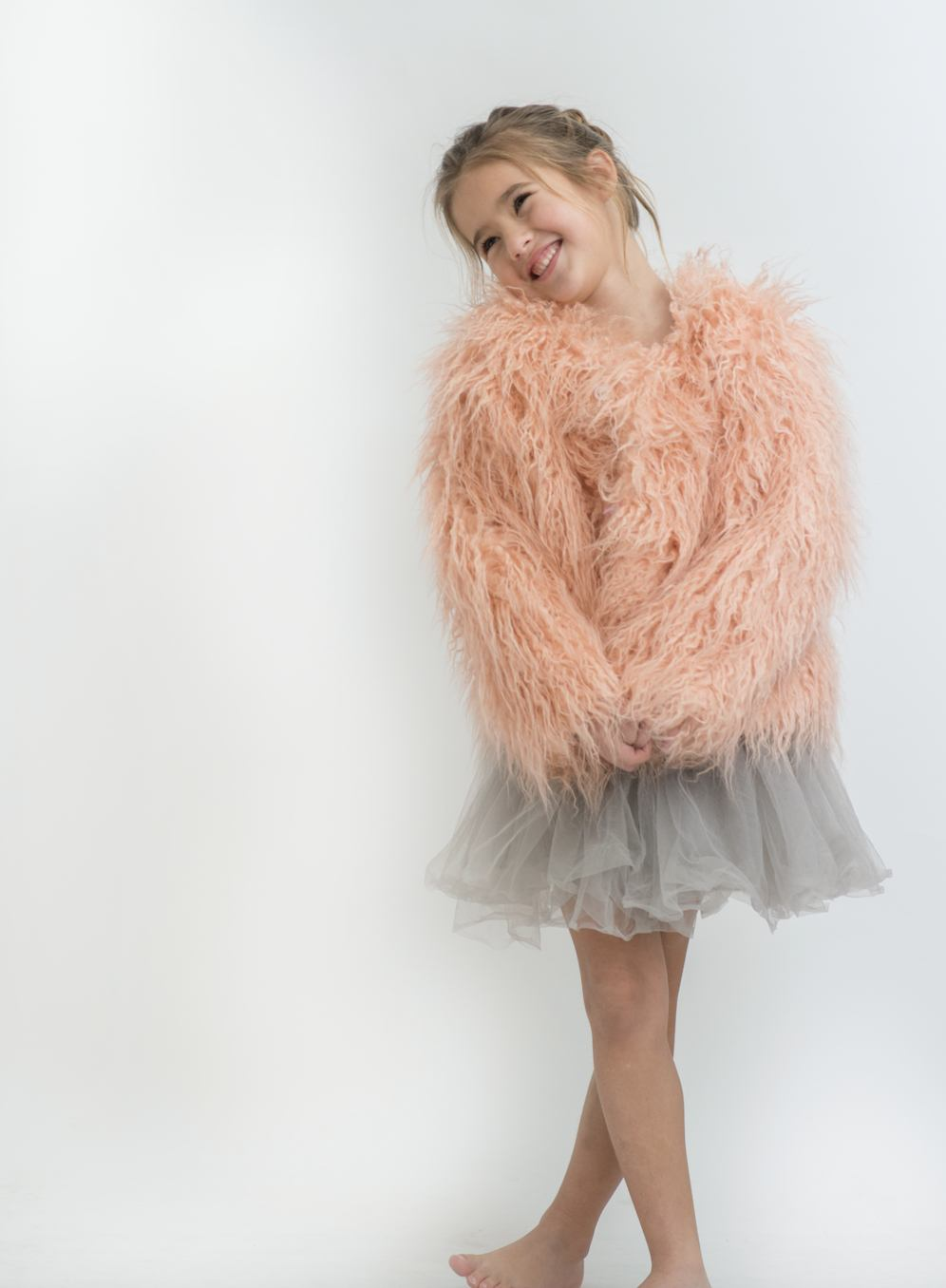 FAUX FUR SHAGGY JACKET | PEACHY PINK
