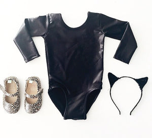 FAUX LEATHER  LUXE BASIC  |  SHORT + LONG SLEEVE LEOTARD