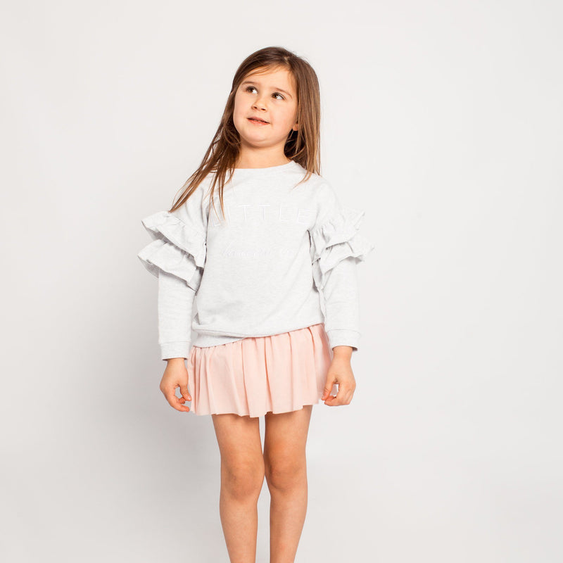 GREY MARLE LITTLE HEARTS FRILL JUMPER