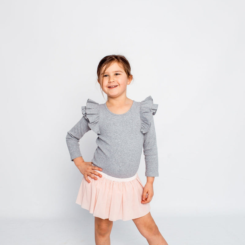 GREY MARLE LONGSLEEVE DOUBLE FRILL LEOTARD