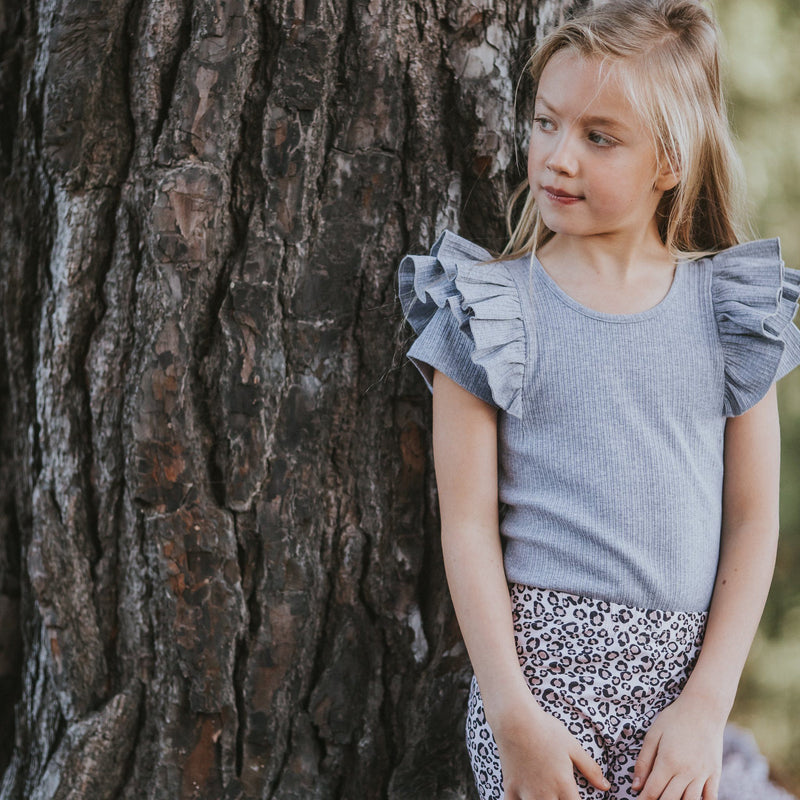 GREY MARLE SHORT SLEEVE DOUBLE FRILL LEOTARD