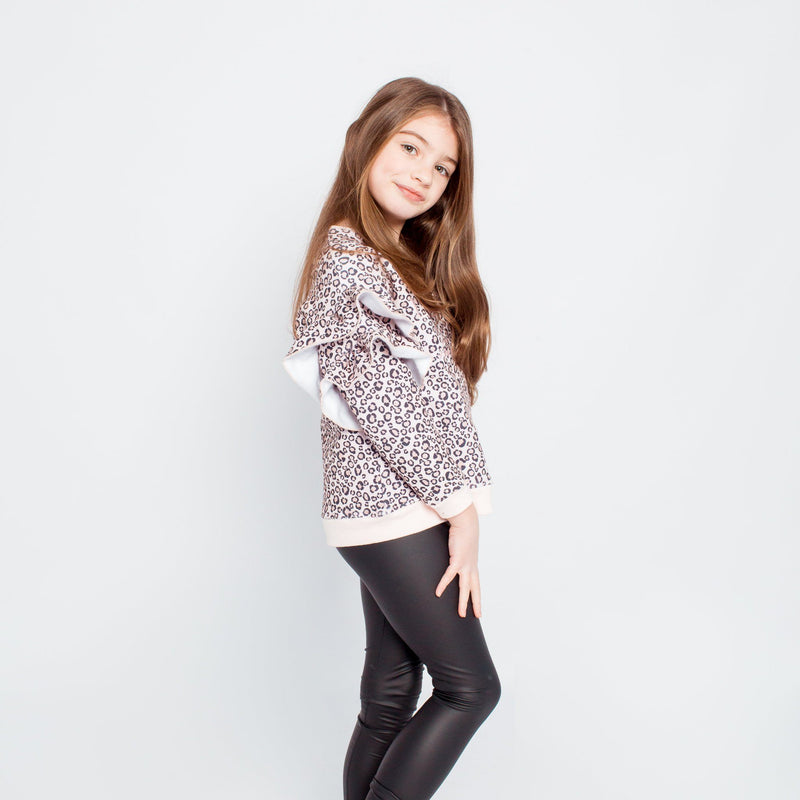 LEOPARD LITTLE HEARTS FRILL JUMPER