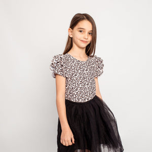 LEOPARD SHORTSLEEVE DOUBLE FRILL LEOTARD