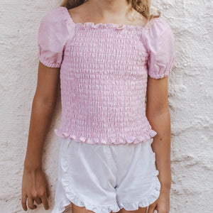 PINKY POKADOT SHIRRED PUFFY SLEEVE TOP