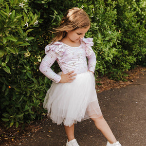 POSY PINK L/S DOUBLE FRILL LEOTARD