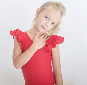 RED DOUBLE FRILL LEOTARD