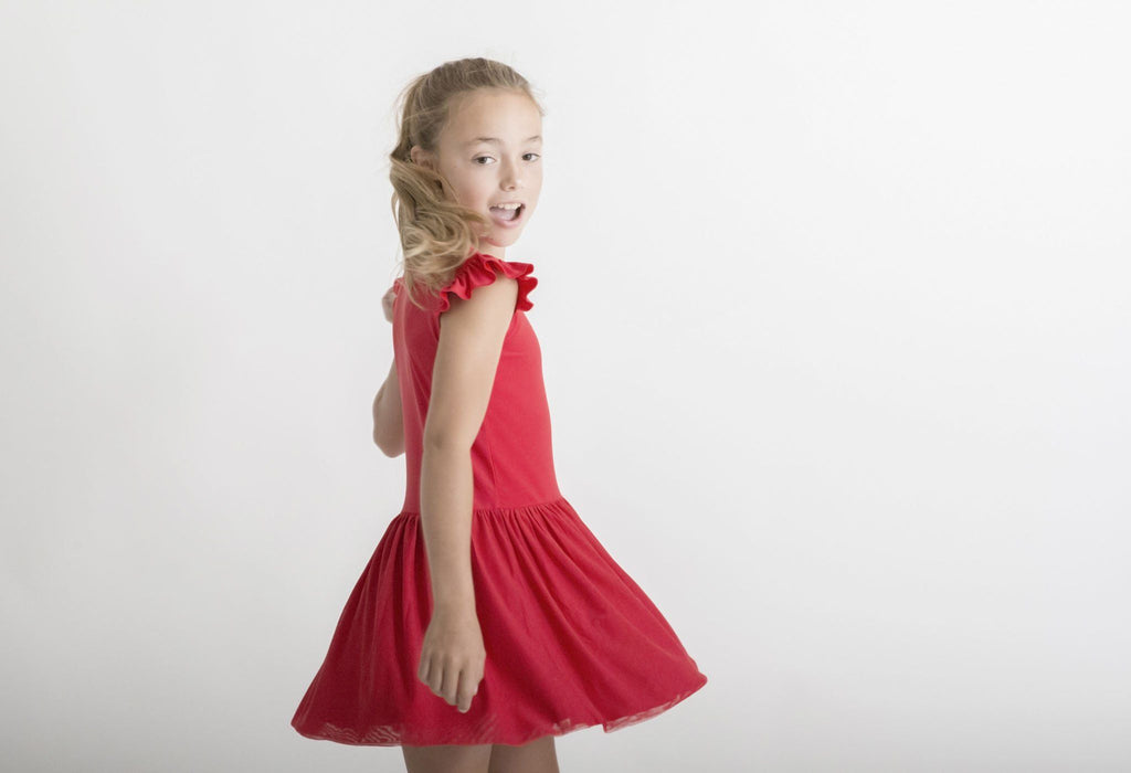 SALE | RED | LUXE FRILL TUTU DRESS
