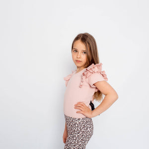 SHORT SLEEVE DOUBLE FRILL LEOTARD BLUSH
