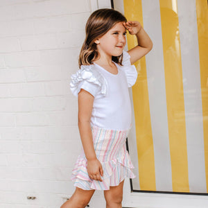 SORBET STRIPE 2-IN-1 SHIRRED TOP/SKIRT