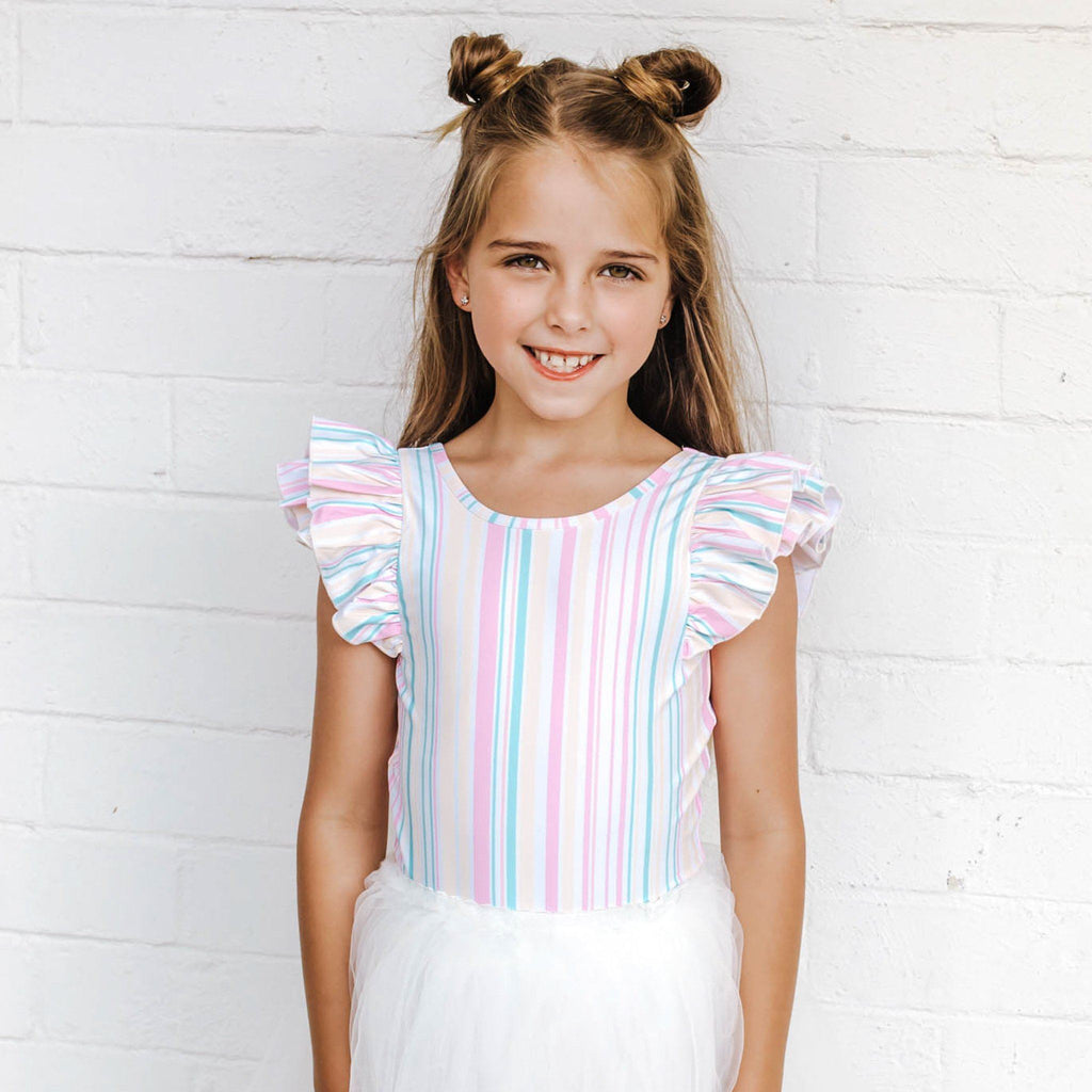 SORBET STRIPE DOUBLE FRILL LEOTARD