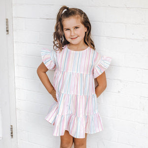 SORBET STRIPE FRILLY TIERED DRESS