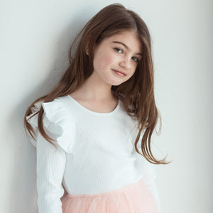 WHITE LONGSLEEVE DOUBLE FRILL LEOTARD