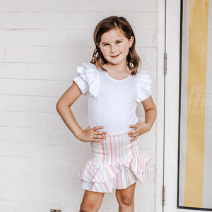 WHITE SHORT SLEEVE DOUBLE FRILL LEOTARD