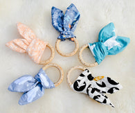 Crinkle Bunny Ear Wooden Teether