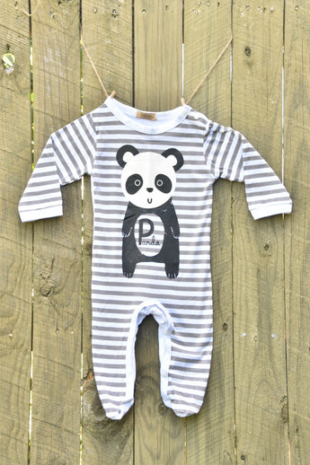Cotton Panda Romper With Beanie