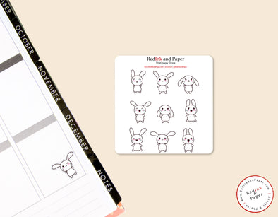 White Bunny Sticker Sheet