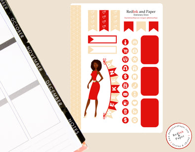 Crimson and Cream Sorority Sticker Sheet