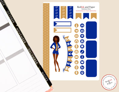 Reflex Blue and Gold Sorority Sticker Sheet 2