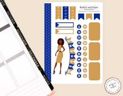Reflex Blue and Gold Sorority Sticker Sheet