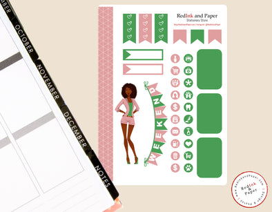 Salmon Pink and Apple Green Sorority Sticker Sheet 2