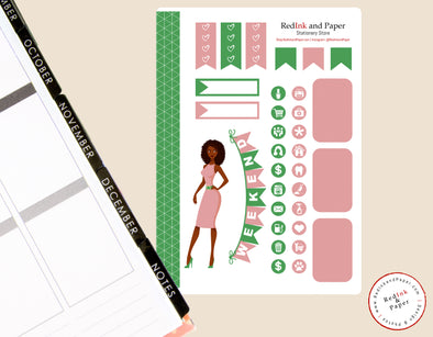 Salmon Pink and Apple Green Sorority Sticker Sheet