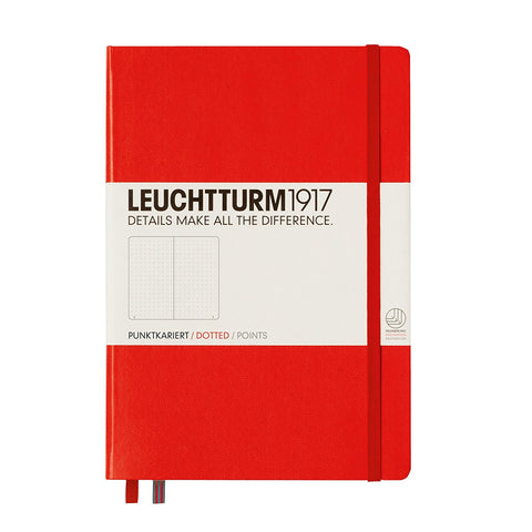 NOTEBOOK MEDIUM (A5) HARDCOVER, 249 NUMBERED PAGES, DOTTED, RED