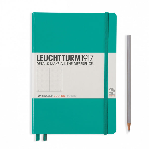 NOTEBOOK MEDIUM (A5) HARDCOVER, 249 NUMBERED PAGES, DOTTED, EMERALD