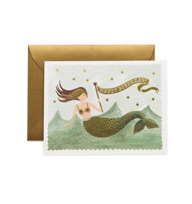 HAPPY BIRTHDAY VINTAGE MERMAID GREETING CARD