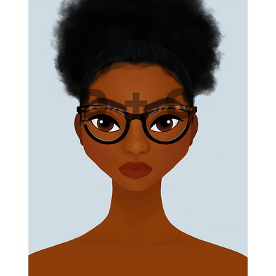 Forward facing illustrated picture of an African American woman.