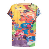 Fast fashion Blue totoro print T-shirt women tops tees new summer girls big size shirt thin - The Online Clothing Store