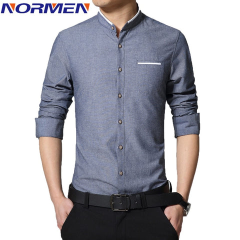 Collarless Slim Fit Long Sleeve Men's Fashion Shirts - TheOnlineClothingStore