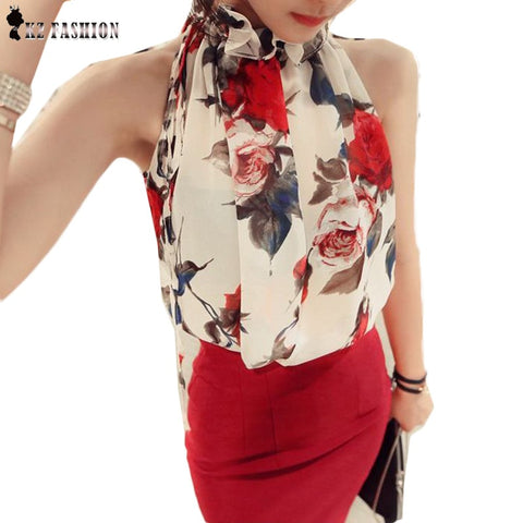 New 2016 Fashion Women Sleeveless Chiffon Floral Print Blouse Ruffles Turtleneck Tops Shirt Bluse Blusas Feminine Brand T57334 - The Online Clothing Store