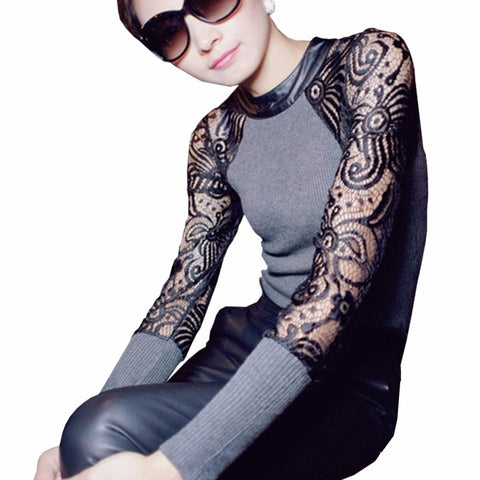 2016 Fabric Knit Lace Puff Long Sleeve Women's Fashion Shirt - TheOnlineClothingStore