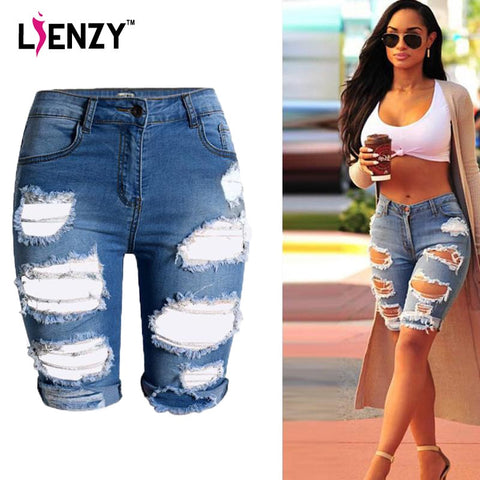 2016 Half Ripped Denim Jeans High Waist Fashion Slim Stretch Short
