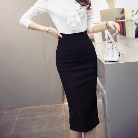 Tight Black Slit High Waist Pencil Skirt