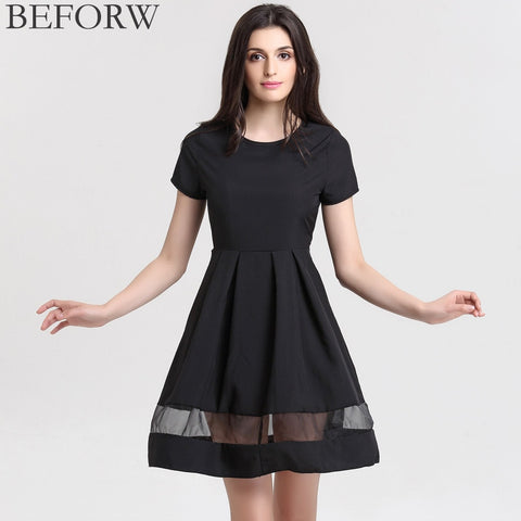 Brand Women Dresses Fashion Round Neck Solid Casual Summer Dress Plus Size Splice Sexy Dress Black Vintage Office Dresses - The Online Clothing Store