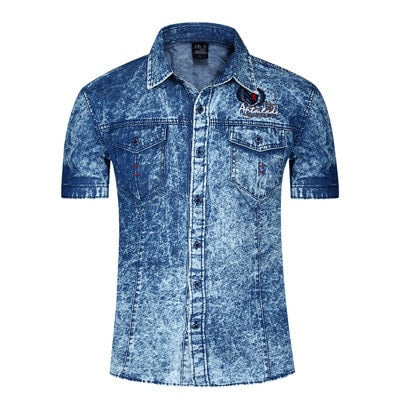 2016 Denim Short Sleeve Men`s Casual Jean Shirts - TheOnlineClothingStore
