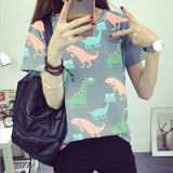 2016 Korean Retro Animal Dinosaur Printing Short-Sleeve Shirt - TheOnlineClothingStore