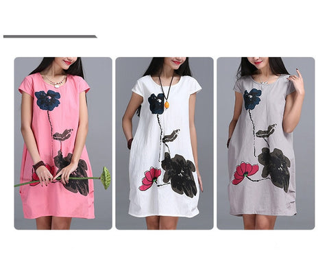 2016 Summer Arts style High Quality cotton linen Loose Vintage Ink Printing Short sleeve Dress - The Online Clothing Store