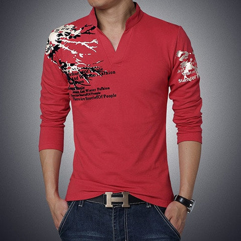 2016 New Fashion Brand Trend Print V-Neck Slim Fit Long Sleeve Shirt - TheOnlineClothingStore