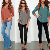 New Blusas Sexy Women V-neck Chiffon Blouse Casual Long Sleeve Solid Shirts Tops Plus Size 5XL feminina camisas 1WBL074 - The Online Clothing Store