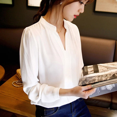 Summer Chiffon V-Neck Long Sleeve Women's Elegant Shirt