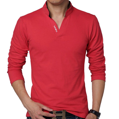 2016 Fashion Men Solid Color Slim Fit Polo Long-Sleeve Shirt - The Online Clothing Store