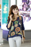 Summer Chiffon Back Pleats Retro Print Women's Fashion Blouse