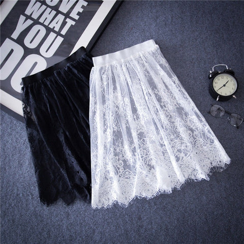 2016 Summer Tulle Lace Hollow Out Short Pencil Skirts