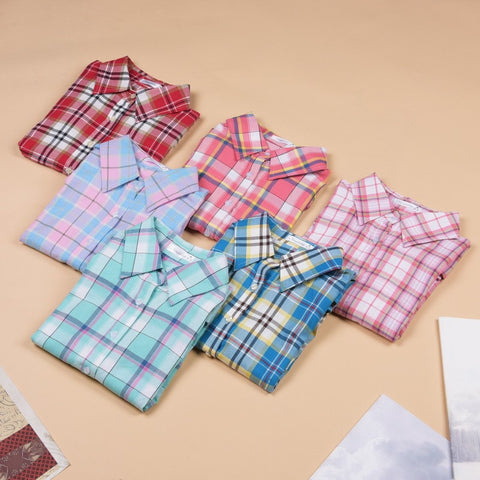 Hot Sale Fashion Women Blouses Long Sleeve Turn-down Collar Plaid Shirts Women Casual Cotton Shirt - The Online Clothing Store