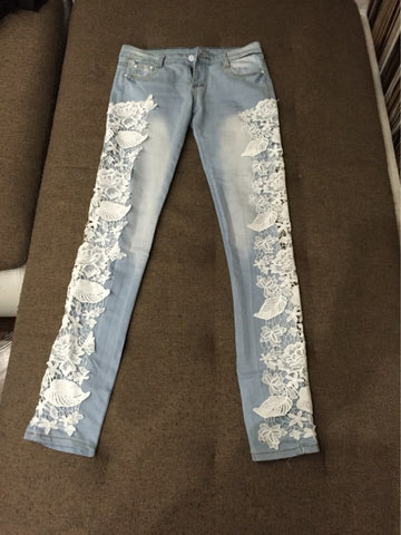 2016 Denim Lace Long Pencil Skinny Women's Sexy Jeans