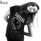 Casual Black T Shirt Women Tops Punk Rock Nirvana Letter Print Short Sleeve T-shirt O-Neck Tee Shirt Femme - The Online Clothing Store