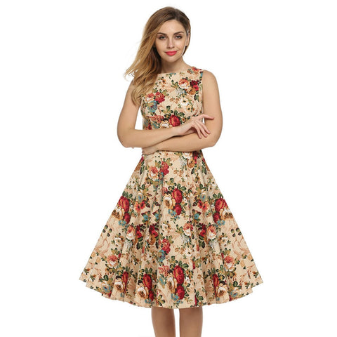Women Dress Retro Vintage Rockabilly Floral Swing Summer Dress